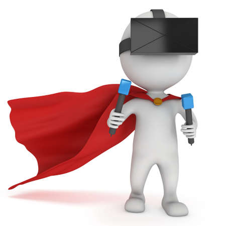 cloak: Superhero with red cloak and virtual reality glasses headset. 3D render illustration isolated on white Stock Photo