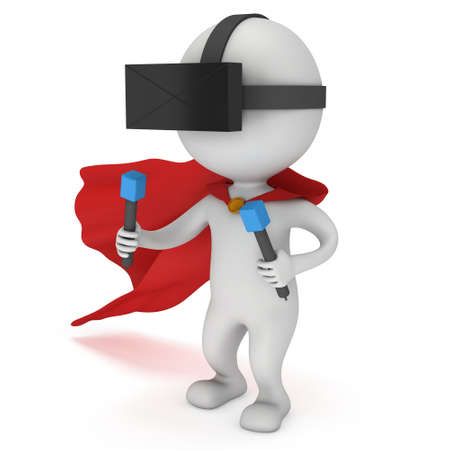 Superhero with red cloak and virtual reality glasses headset. 3D render illustration isolated on white Stock Photo