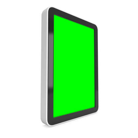 lcd screen: Tablet pc computer with green screen chroma key. 3d render of lcd screen pad isolated on white background. High Resolution ad template for your apps design.