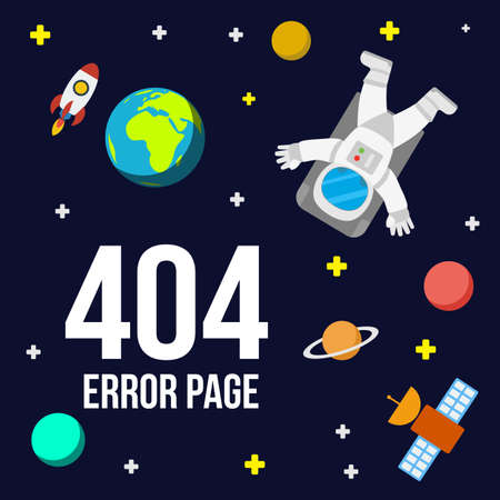 zero gravity: Universe 404 error page vector template for website. Outer space with astronaut, planets and rocket. Page Not Found Error 404.
