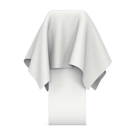 white cloth: Presentation pedestal covered with a white cloth. Place for award or prize cover by cloth. 3d render illustration isolated on white.