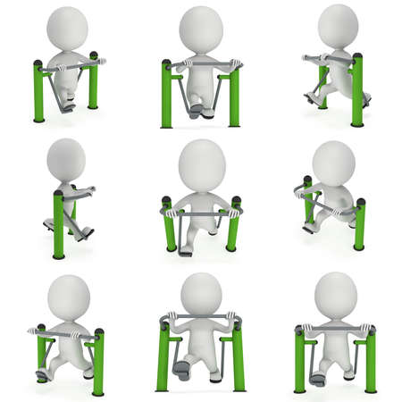 man working out: Active 3D man exercising on outdoor fitnes trainer machine set. Fit sporty man working out at outdoor gym collection. Sport fitness and healthy lifestyle concept. 3D render isolated on white. Stock Photo