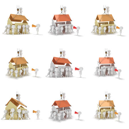 real people: People build a house set. Business, teamwork, assembling, real estate concept. 3d render illustration isolated on white Stock Photo