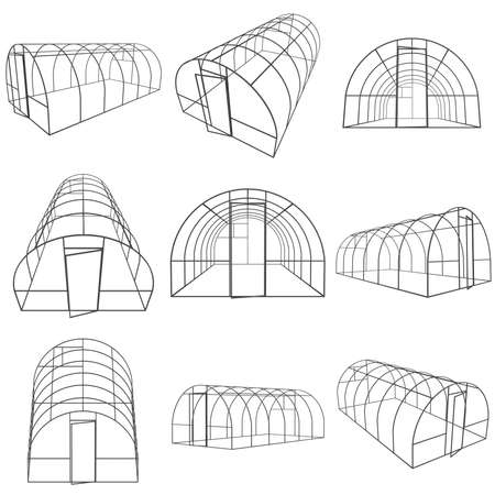 hull: Greenhouse construction frame set. Hothouse building object collection. Warm house 3d render illustration isolated on white. Glasshouse concept image