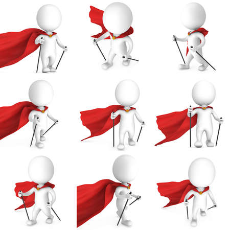 helthcare: Nordic walking white superhero man with red cloak set. 3d render illustration of super hero isolated on white background. Concept of helthcare and fitness small people.