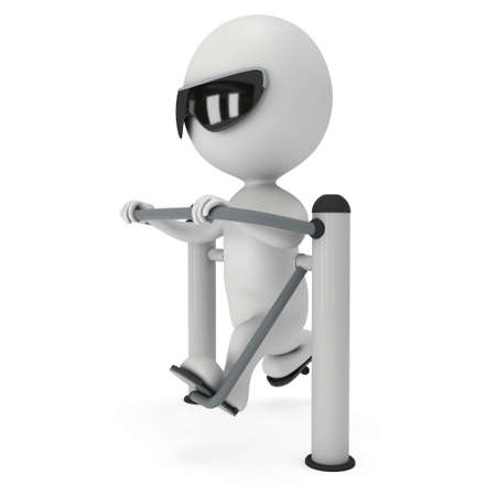 endurance run: Active 3D man exercising on outdoor fitnes trainer machine. Fit sporty man working out at outdoor gym. Sport fitness and healthy lifestyle concept. 3D render isolated on white.