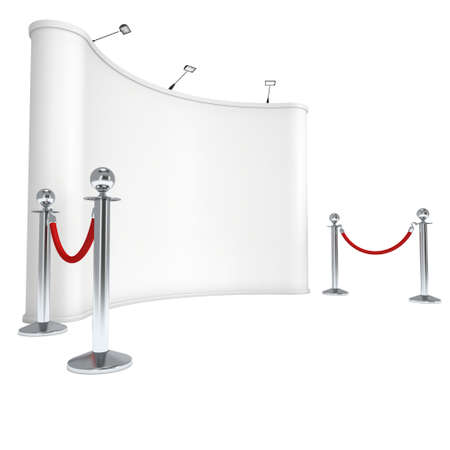 velvet rope barrier: Trade show booth white and blank with silver rope barrier. 3d render illustration isolated on white background. High Resolution Template for your design.