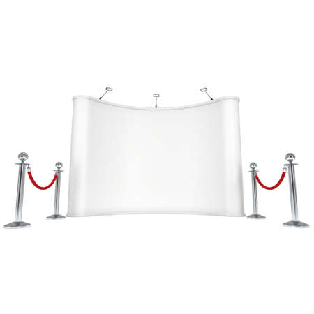 stanchion: Trade show booth white and blank with silver rope barrier. 3d render illustration isolated on white background. High Resolution Template for your design.