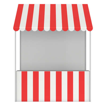 Market stand kiosk stall with striped awning for promotion sale. Shopping cart. Business store, showcase and kiosk, marketplace mobile. 3D render illustration isolated on white.