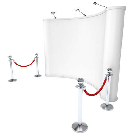 Trade show booth white and blank with silver rope barrier. 3d render illustration isolated on white background. High Resolution Template for your design.