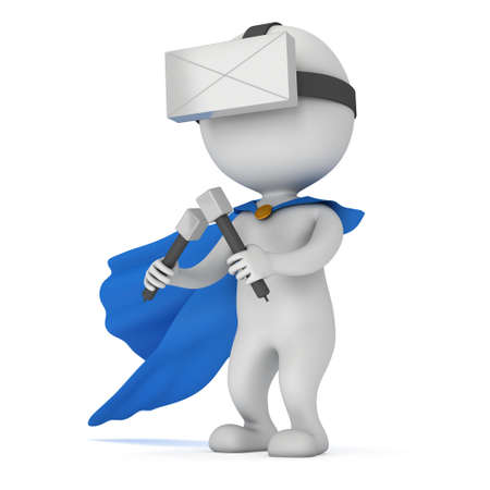 Superhero with blue cloak and virtual reality glasses headset. 3D render illustration isolated on white Stock Photo