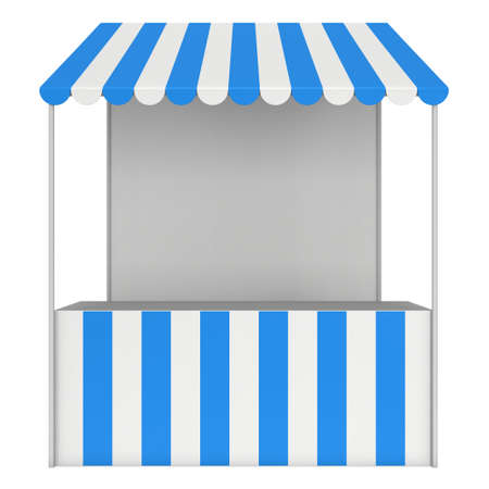 vitrine: Market stand kiosk stall with striped awning for promotion sale. Shopping cart. Business store, showcase and kiosk, marketplace mobile. 3D render illustration isolated on white.