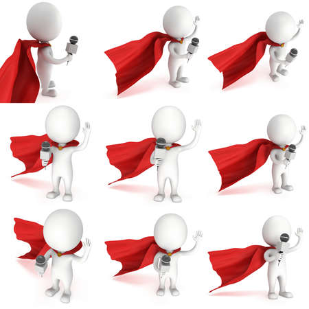 wave hello: White superhero hosting show and talking into microphone set. Wave hello. 3d render illustration isolated on white background. Stock Photo