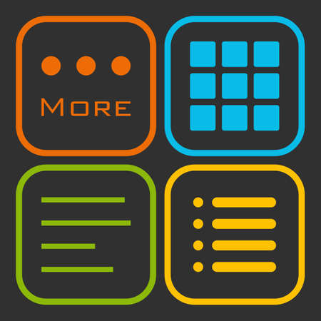 Hamburger menu icons set. Vector green yellow red and blue symbols collection on black background. Illustration