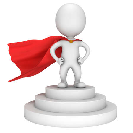 whithe: Brave superhero with red cloak stand on round stage podium for award ceremony. 3D render illustration pedestal isolated on whithe background