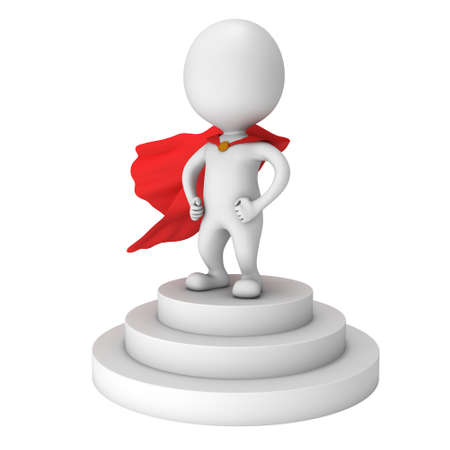 Brave superhero with red cloak stand on round stage podium for award ceremony. 3D render illustration pedestal isolated on whithe background