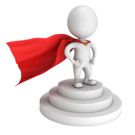 cloak: Brave superhero with red cloak stand on round stage podium for award ceremony. 3D render illustration pedestal isolated on whithe background
