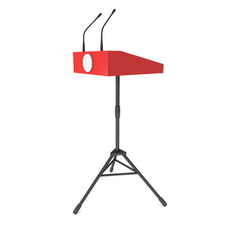 rostrum: Red Speaker Podium on Tripod. White Tribune Rostrum Stand with Microphones. 3d render isolated on white background. Debate, press conference concept
