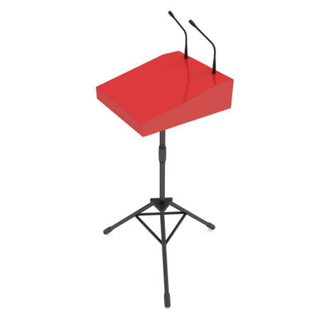 Red Speaker Podium on Tripod. White Tribune Rostrum Stand with Microphones. 3d render isolated on white background. Debate, press conference concept