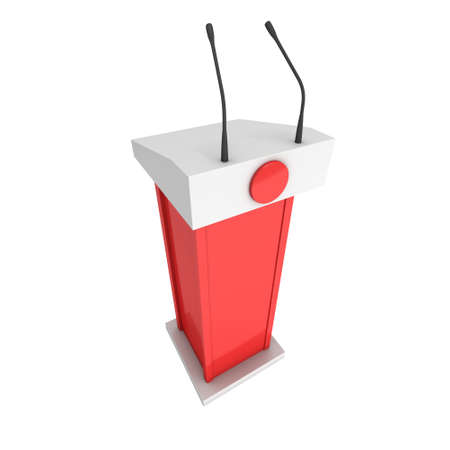 rostrum: 3d Speaker Podium. Red Tribune Rostrum Stand with Microphones. 3d render isolated on white background. Debate, press conference concept Stock Photo