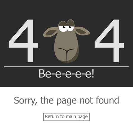 page not found: Concept page 404 error. Illustration error page not found. A modern 404 page with stubborn lamb head. Template reports that the page is not found.