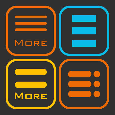 webdesigner: Hamburger menu icons set. orange yellow and blue symbols collection on black background. Illustration