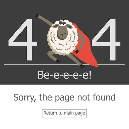 sheep warning: Superhero sheep and error 404 page. Illustration