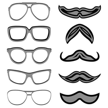 nerd glasses: Set of hipster nerd glasses and stylish mustaches on white. Illustration