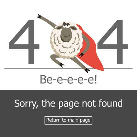 error message: Superhero sheep and error 404 page. Illustration