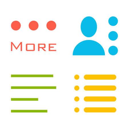 Hamburger menu icons set. Vector colored symbols collection isolated on white background. Illustration