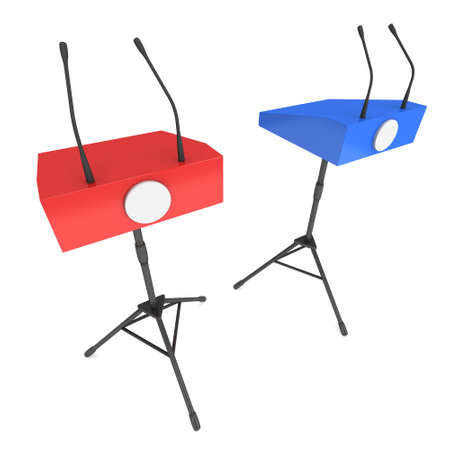 rostrum: Two Speaker Podiums on Tripod. Red and Blue Tribune Rostrum Stand with Microphones. 3d render isolated on white background. Debate, press conference concept Stock Photo
