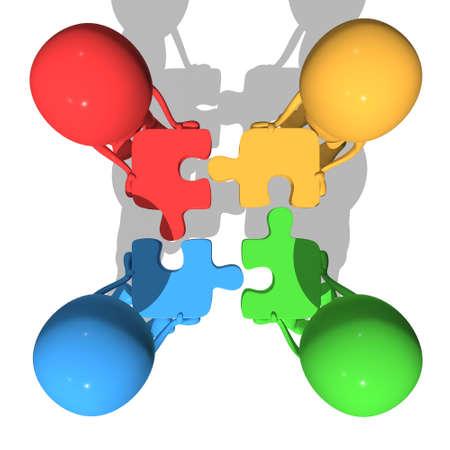 concepto de fusión. Cuatro hombres de negocios que intentan conectarse azul rompecabezas verdes y amarillos rojos. 3d hacer ilustración aislada en el fondo blanco.