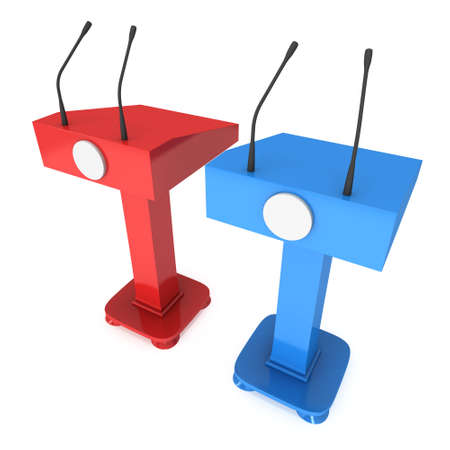rostrum: Two Speaker Podiums. Red and blue Tribune Rostrum Stand with Microphones. 3d render isolated on white background. Debate, press conference concept