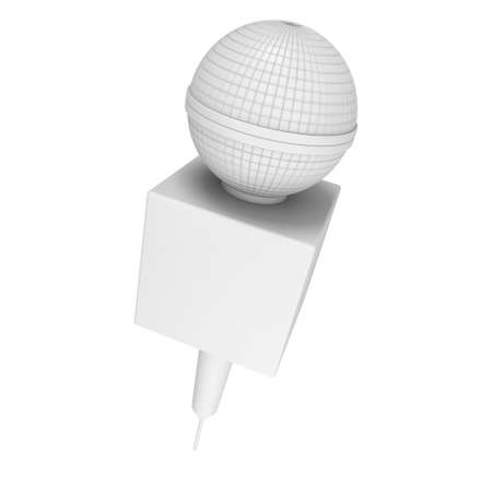 blanck: Blanck microphone. 3d render illustration isolated on the white background. Speaker and karaoke concept.