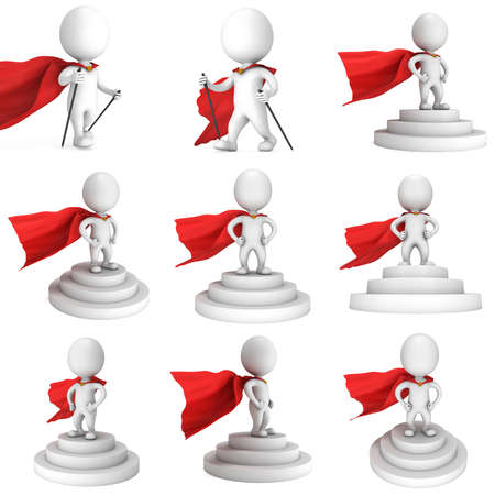 tribune: Brave superhero with red cloak stand on round stage podium for award ceremony. 3D render illustration set pedestal isolated on white background.