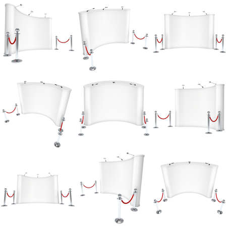rope barrier: Trade show booth white and blank with silver rope barrier set. 3d render illustration isolated on white background. High Resolution Template for your design.