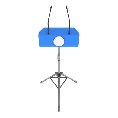rostrum: Speaker Podium on Tripod. Blue Tribune Rostrum Stand with Microphones. 3d render isolated on white background. Debate, press conference concept