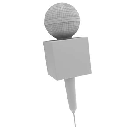 Blanck microphone. 3d render illustration isolated on the white background. Speaker and karaoke concept.