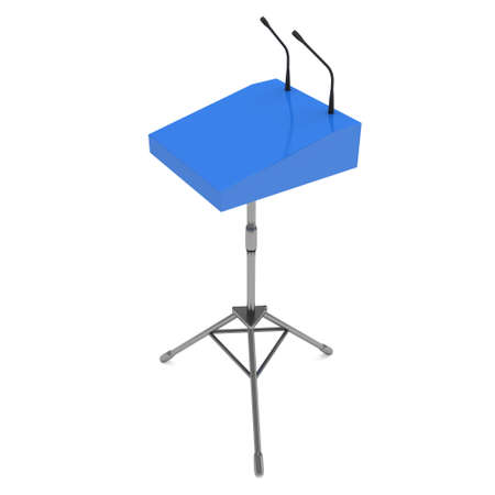 tribune: Speaker Podium on Tripod. Blue Tribune Rostrum Stand with Microphones. 3d render isolated on white background. Debate, press conference concept