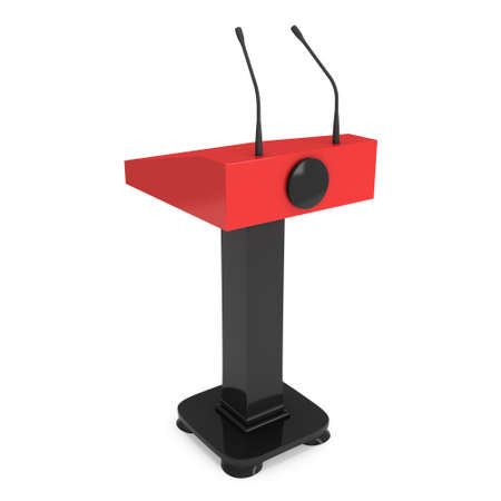 rostrum: 3d Speaker Podium. Red and black Tribune Rostrum Stand with Microphones. 3d render isolated on white background. Debate, press conference concept Stock Photo