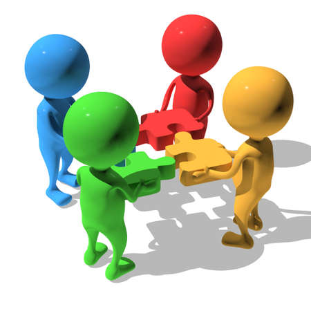 Merger concept. Four businessmen trying to connect red blue green and yellow puzzles. 3d render illustration isolated on white background. Stock Photo