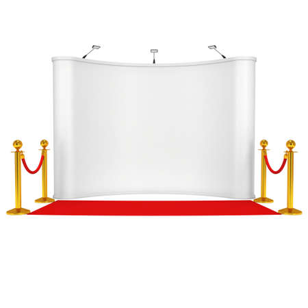 stanchion: Trade show booth white and blank with silver rope barrier and red carpet. 3d render illustration isolated on white background. High Resolution Template for your design.