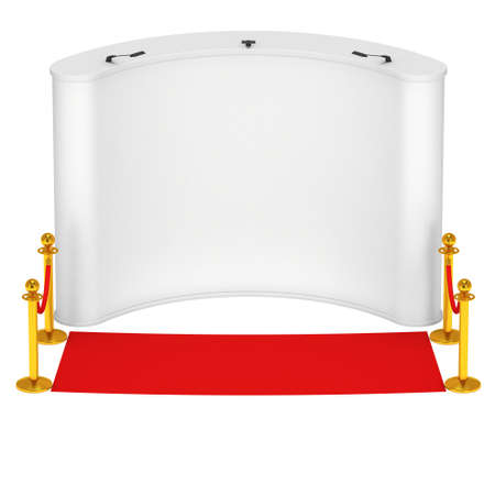 rope barrier: Trade show booth white and blank with silver rope barrier and red carpet. 3d render illustration isolated on white background. High Resolution Template for your design.