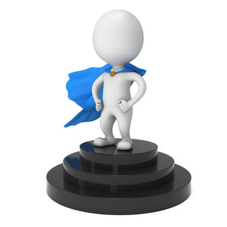 Brave superhero with blue cloak stand on round stage podium for award ceremony. 3D render illustration pedestal isolated on white background