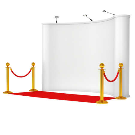 Trade show booth white and blank with silver rope barrier and red carpet. 3d render illustration isolated on white background. Stock Photo