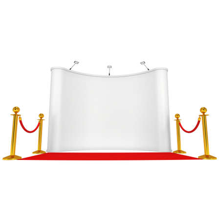 velvet rope barrier: Trade show booth white and blank with silver rope barrier and red carpet. 3d render illustration isolated on white background. Stock Photo