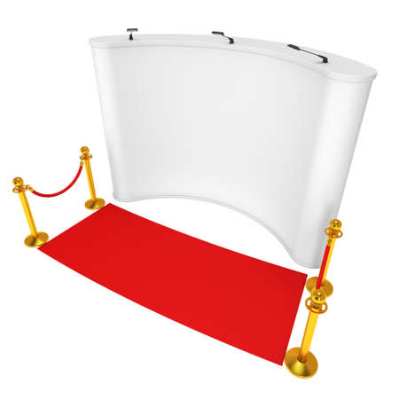 stanchion: Trade show booth white and blank with silver rope barrier and red carpet. 3d render illustration isolated on white background. Stock Photo