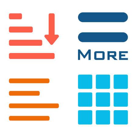 webdesigner: Hamburger menu icons set. Vector colored symbols collection isolated on white background. Illustration