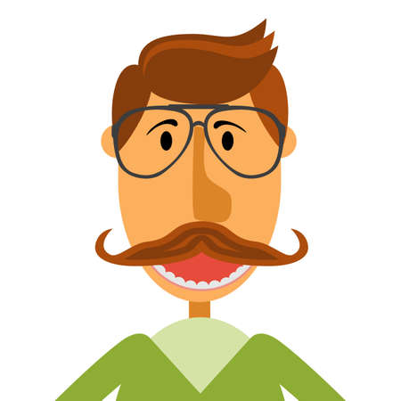 Hipster nerd with glasses and stylish mustache isolated on white. Web Banner Vector Flat Design. Hipster creative design template illustration