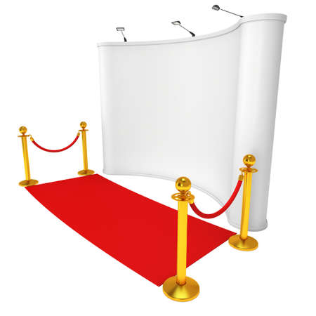 stanchion: Trade show booth white and blank with gold rope barrier and red carpet. 3d render illustration isolated on white background.